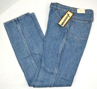 Vtg 1980's Womens Vanderbilt Pinstripe Light Denim Blue Jeans USA Made 9