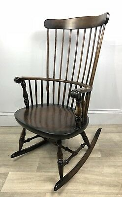 Beautiful Vintage Dark Wood Rocking Chair, Windsor / Chairmaker Style