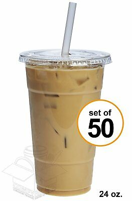 COMFY PACKAGE 50 Sets 24 oz. Plastic CRYSTAL CLEAR Cups with Flat Lids for Cold