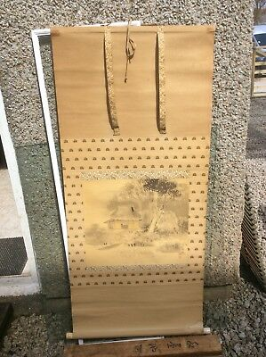 """Vintage Chinese Scroll Painting. Signed. With Wooden Case. 48"""" X 22"""""""