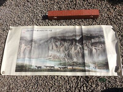 """Vintage Chinese Scroll Painting. Signed. With Case. 51"""" X 24"""""""