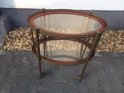 Antiker Barwagen Messing Holz Glas Original