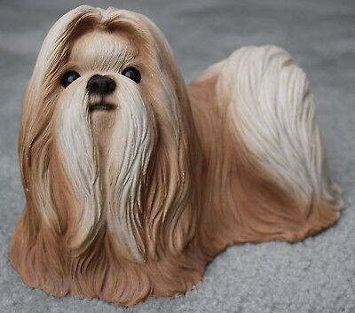 Lhasa Apso Dog sculpture Statue Sandicast Brown and White
