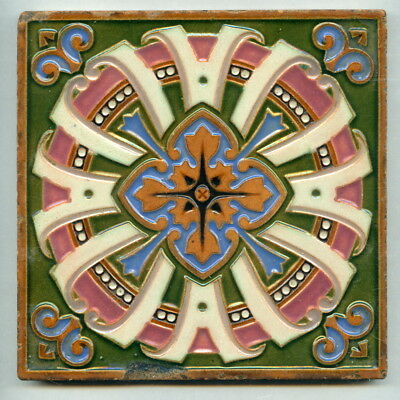 """Relief moulded Majolica 6"""" square Victorian tile by Maw & Co, c1875"""