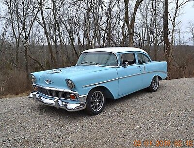 1956 Chevrolet Bel Air/150/210 2 DOOR 210 SEDAN 1956 CHEVY 210 350 4SPD SOLID BEAUTIFUL NASSUA BLUE AND WHITE VERY NICE CAR