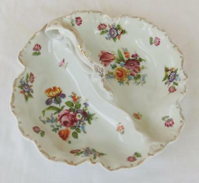 Prov Saxe Es Germany 2 Part Handled Serving Dish - Dresden Flowers