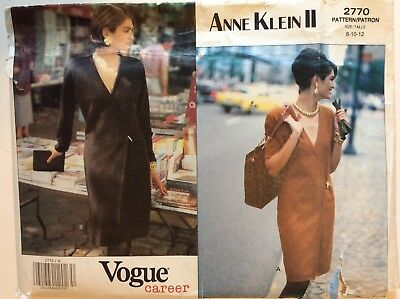 Vogue Career Sewing Pattern 2770, Dress, Anne Klein ll, Size 8-10-12, Uncut