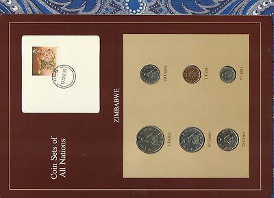 Coin Sets of All Nations Zimbabwe w/card 1980-1988 UNC 20 cents 1983
