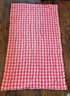Vintage Red White Checkered Check Picnic Blanket Quilt Hand Made As Is 40 X 68