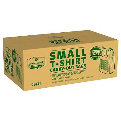 2000 Small T-Shirt Carry Out Retail Plastic Bags Recyclable Grocery Shopping