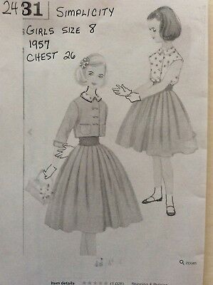 Simplicity Sewing Pattern 2431, Girls Blouse, Skirt, Jacket, Size 8,1950's Uncut