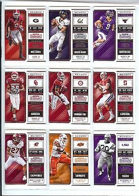 2018 Panini Contenders Draft Picks U Pick Player Rodgers Sanders Bo Dak Luck Etc