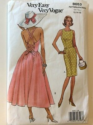 Very Easy Vogue Sewing Pattern 8653, Sundress, Size 12, 14. 16, Uncut