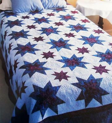 STARS OF THE NIGHT Quilt Pattern Assorted Batiks Multiple Sizes From Magazine