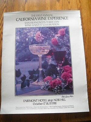 """Original 1981 SIGNED POSTER - BALZER  """"FIRST ANNUAL CALIFORNIA WINE EXPERIENCE"""""""