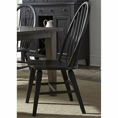 Bowery Hill Windsor Back Dining Side Chair in Black