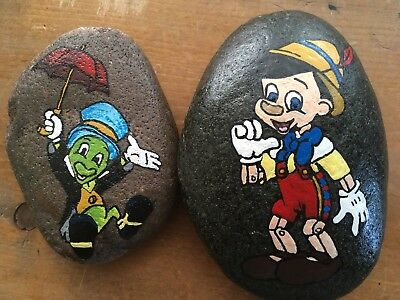 Hand Painted River Rock PINOCCHIO AND JIMINY CRICKET