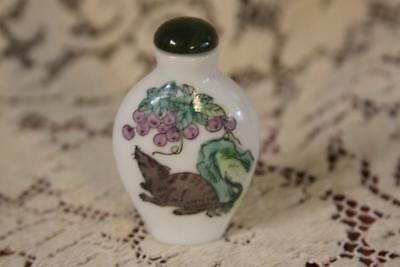 Vintage Chinese Porcelain Hand Painted Grapes & Rat Snuff Bottle