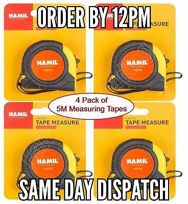 1or4 Pack 5M Metal Measuring Tape Rubber Grip Pocket Measure Strong Durable NEW