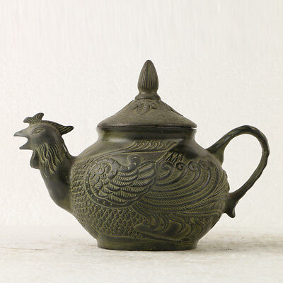 Old Chinese Bronze Hand Carved Phoenix Teapot  W QianLong Mark GL234