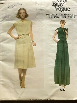 Very Easy Vogue Designer Original, Dress, Belinda Bellville, Size 12, Uncut,