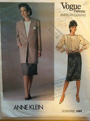 Vogue American Designer Sewing Pattern 1589, Jacket, Skirt, Blouse, Anne Klein