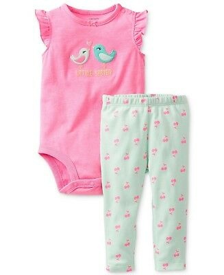 NEW NWT Girls Carters 24 Months Little Sister Two Piece Set Leggings Bodysuit