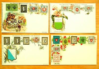 SWITZERLAND POSTAL HISTORY FIRST STAMPS Canton Stamps 4 Postcards c.1900 Litho.