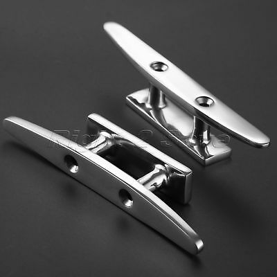 "2x Silver Boat Yacht Marine 316 Stainless Steel Cleats 5"" Flat Top Low Hardware"