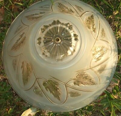Vtg. 40's Shabby Cottage BABY BLUE frosted LEAF & SWIRL Glass CEILING SHADE