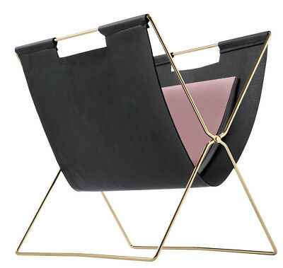 Gold & Black Magazine Rack Holder Contempory Home Decor Organizer Collapsible