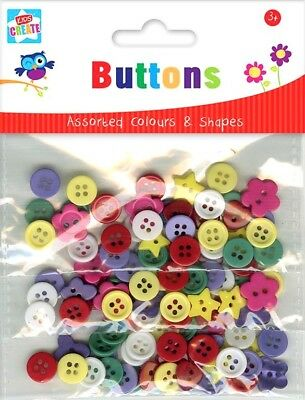 90 x Mixed Shapes Colours Assorted Size Buttons Art Craft Scrapbook Make New