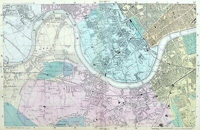 LONDON, 1886 - CHELSEA, FULHAM, PUTNEY, WANDSWORTH, BARNES Original Antique Map.