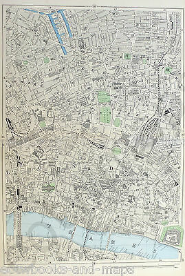 "LONDON 1900 - THE CITY, CLERKENWELL, SHOREDITCH - 9"" / mile Original Antique Map"