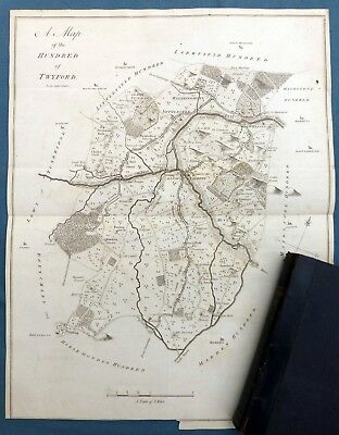 KENT, 1797 - Hundred of TWYFORD  & YALDING, ORIGINAL ANTIQUE MAP - HASTED.