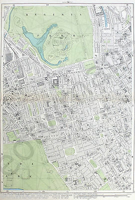 "LONDON, 1900 - MAYFAIR, REGENTS PARK - large 9"" Scale Original Antique Map."