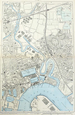 "LONDON, 1900 - BLACKWALL, CANNING TOWN, THE DOCKLANDS - 9"" Scale Antique Map."