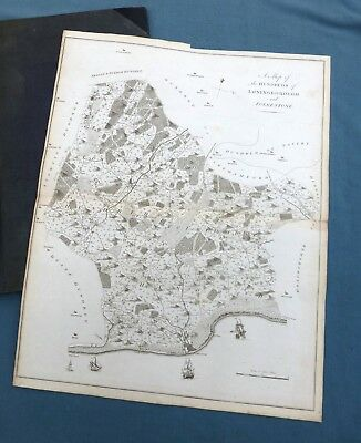 KENT, 1797 - HYTHE & Hundreds of STOWTING, STREET & HEANE, Antique Map - HASTED