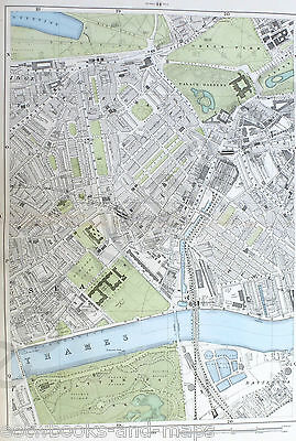 "LONDON, 1900 - CHELSEA, BELGRAVIA , PIMLICO -  9"" / mile Original Antique Map."
