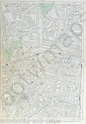 "LONDON, 1900 - HIGHBURY, CANONSBURY, DALSTON, HOXTON, 9"" Scale Antique Map"