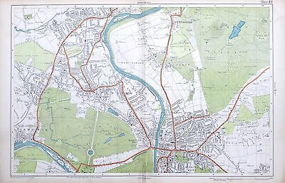 LONDON, 1924 - KINGSTON, TEDDINGTON, HAMPTON  - Original Old Street Map, Bacon.