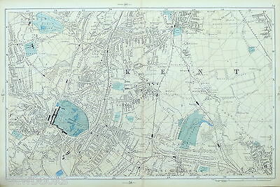 LONDON STREET MAP Antique, Bacon 1895, SYDENHAM, PENGE, BROMLEY, CRYSTAL PALACE