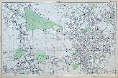 LONDON - Antique Map / Street Plan, CARSHALTON, MITCHAM, CROYDON - BACON, 1910.