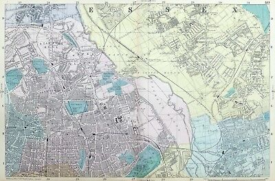 LONDON, 1886 - HACKNEY, CLAPTON , LEYTON, STRATFORD, Original Antique Map.