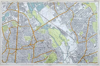 LONDON, 1919 - HACKNEY, STRATFORD, CLAPTON, LEYTON,  Original Antique Map