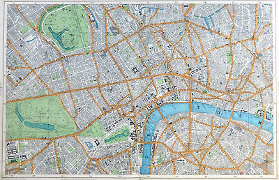 LONDON, 1912 - , WESTMINSTER, THE WEST END & THE CITY, Original Antique Map.