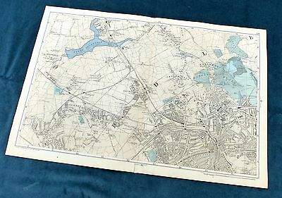 LONDON, 1896 - HAMSTEAD, CRICKLEWOOD , WILLESDEN -  Original Antique Map, Bacon.