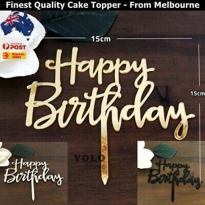 Happy Birthday Acrylic Wooden Cake Topper Birthday Cake Decor AUS Stock