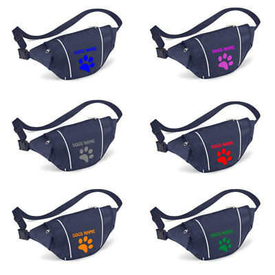 Personalised Bum Bag Printed With A Choice Of Paw Print Colours And Dogs Name
