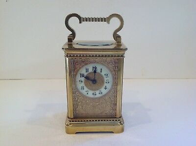 Miniature French Carriage Clock With Beautiful Masked Dial Serviced Mar 2018